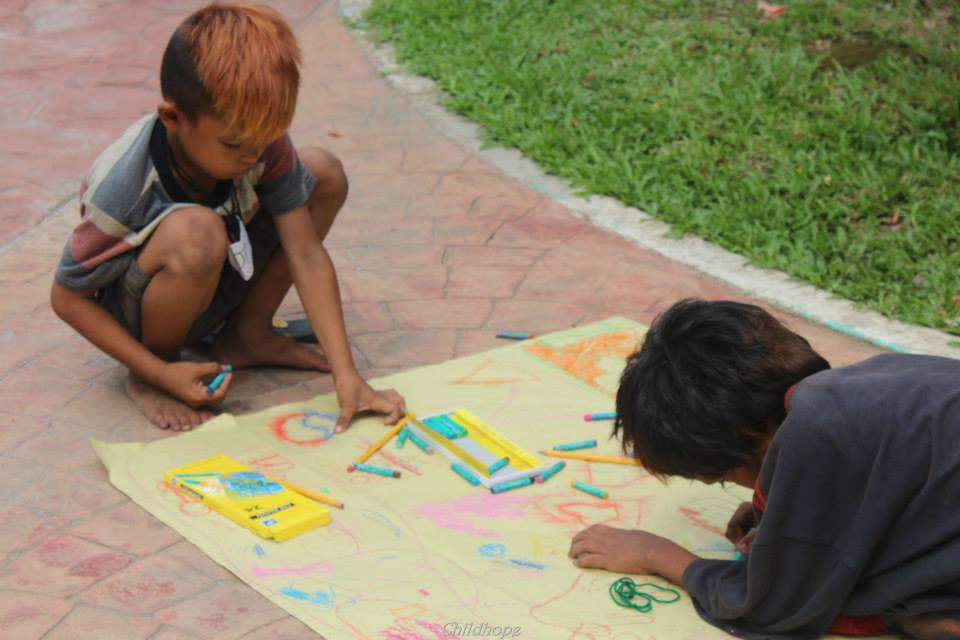 street children coloring and drawing
